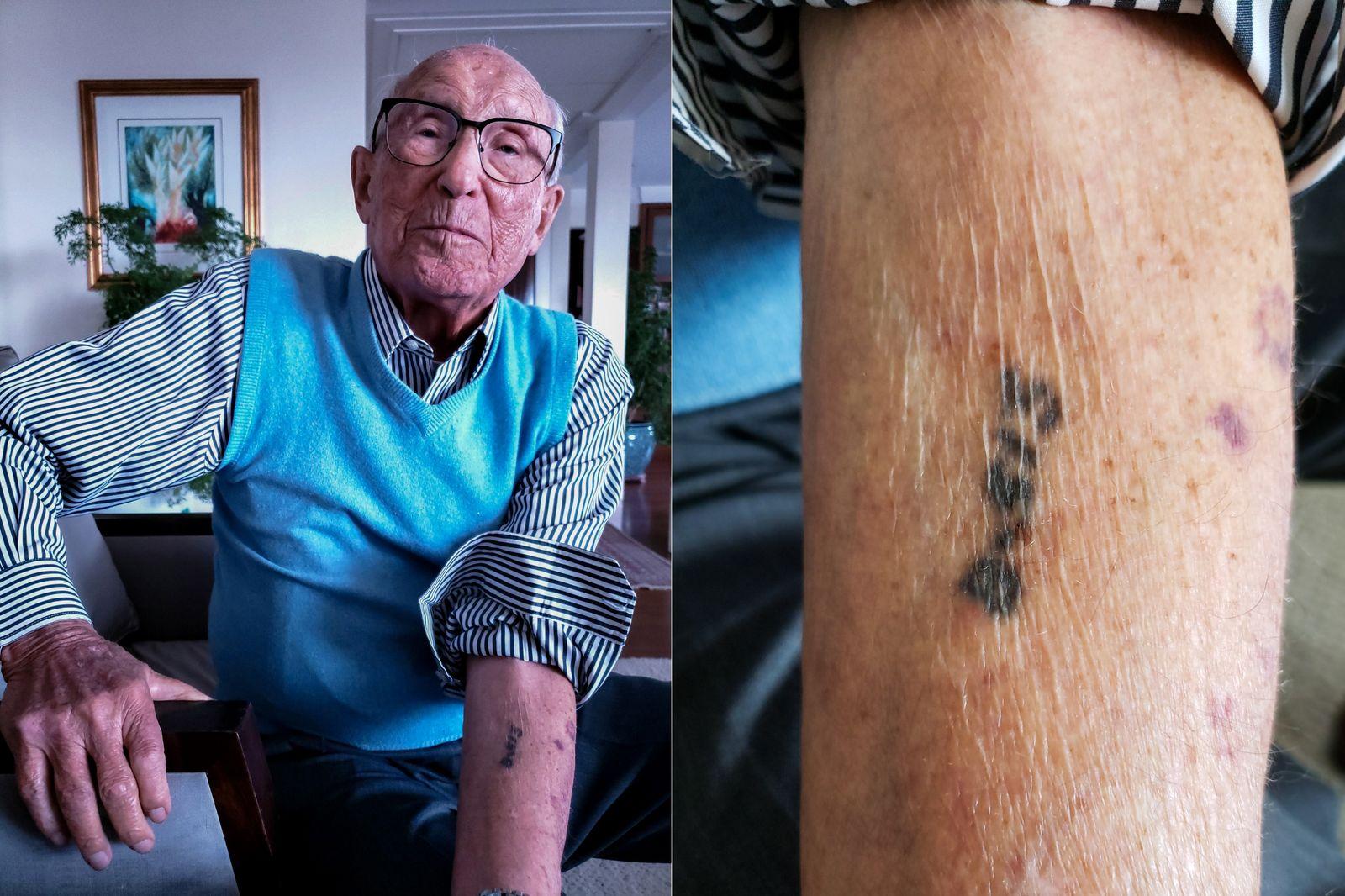 """B513: Kiwa foi tatuado """"como um animal"""" em Auschwitz, mas diz que Spaichingen, na Alemanha, foi ..."""