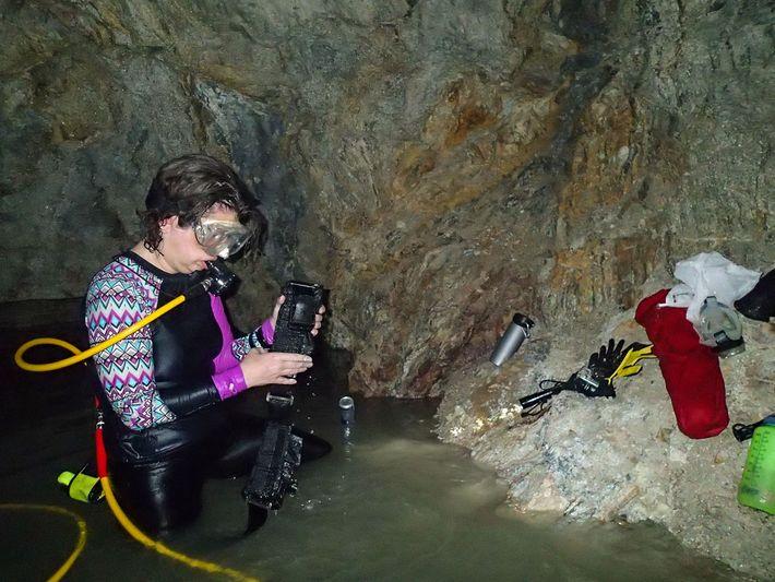 A editora da National Geographic, Kristin Romey, ajusta o equipamento na segunda câmara da tumba do ...