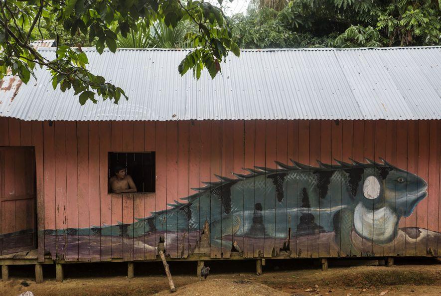 Casas em Mocagua são pintadas com uma imagens da vida selvagem nativa. Neste caso, uma iguana ...