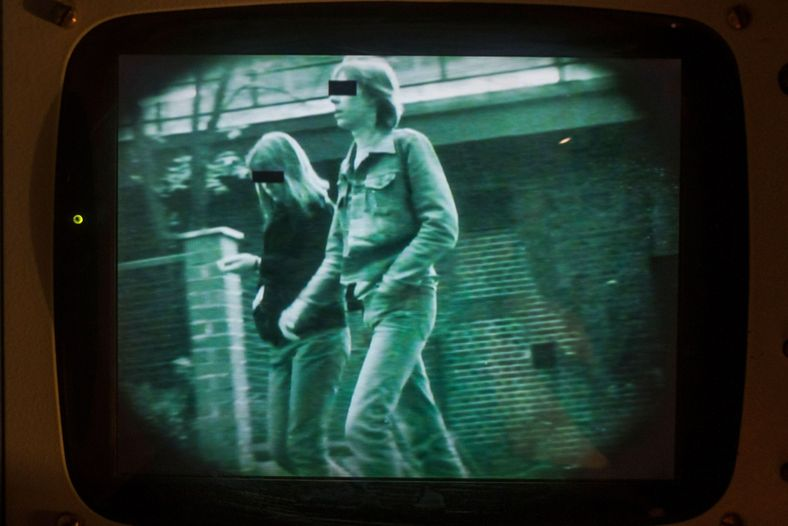 Surveillance camera footage shown at the DDR Museum in Berlin, Germany