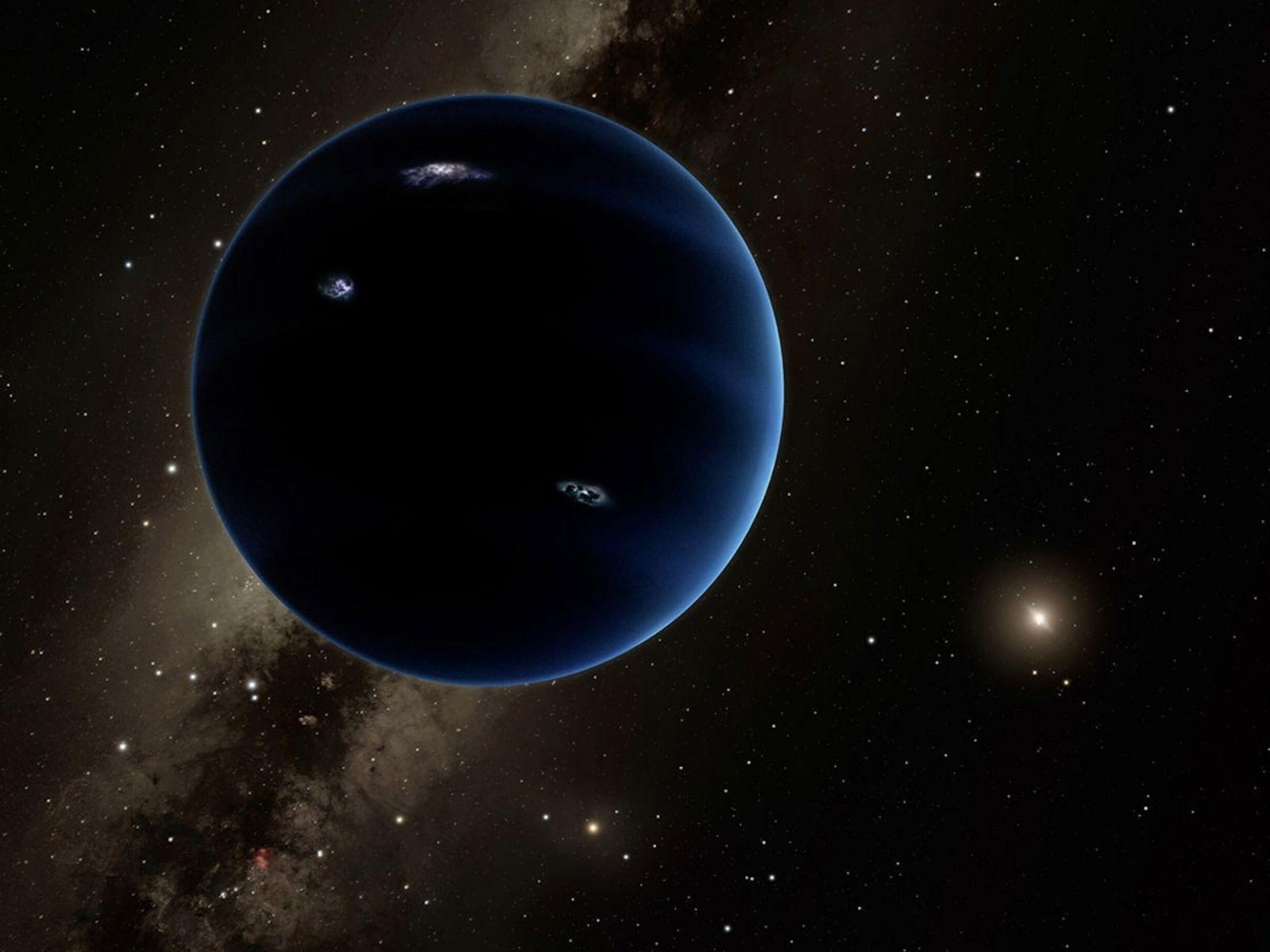 Alguns astrônomos acreditam que um planeta desconhecido, com cerca de seis vezes a massa da Terra, ...