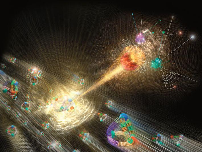 Um bóson de Higgs irrompe de uma colisão de prótons na ilustração.