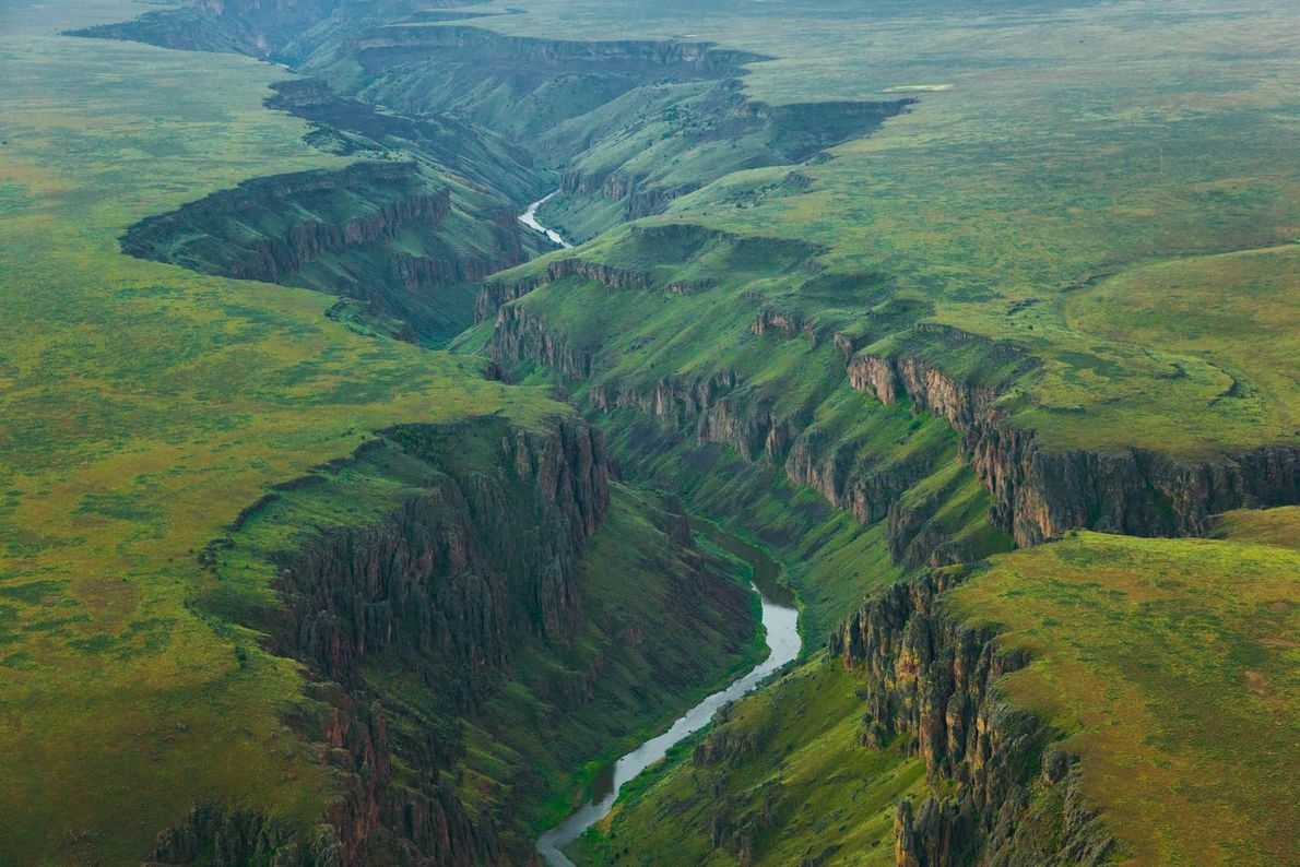 The main branch of the Owyhee River cuts through the wilderness of Idaho.