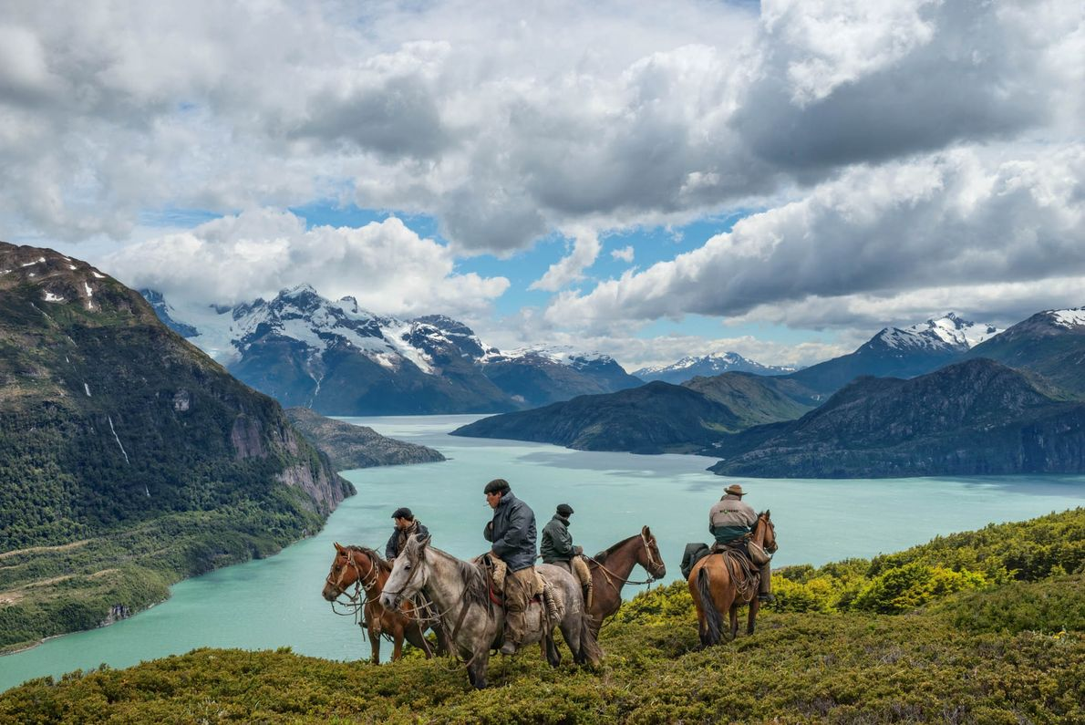 Bagualeros, or cowboys in Patagonia, pause in their search for cattle on Antonio Varas Peninsula in ...