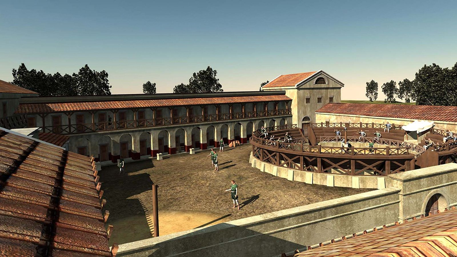 escola-de-gladiadores-roma-antiga-ilustracao