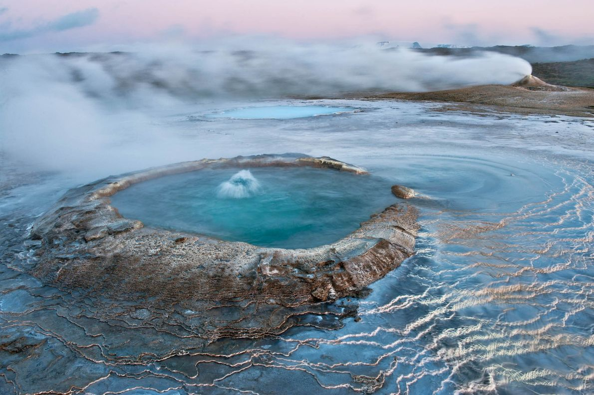 Iceland's Hveravellir Nature Reserve is home to glaciers, lava fields, and thermal pools.