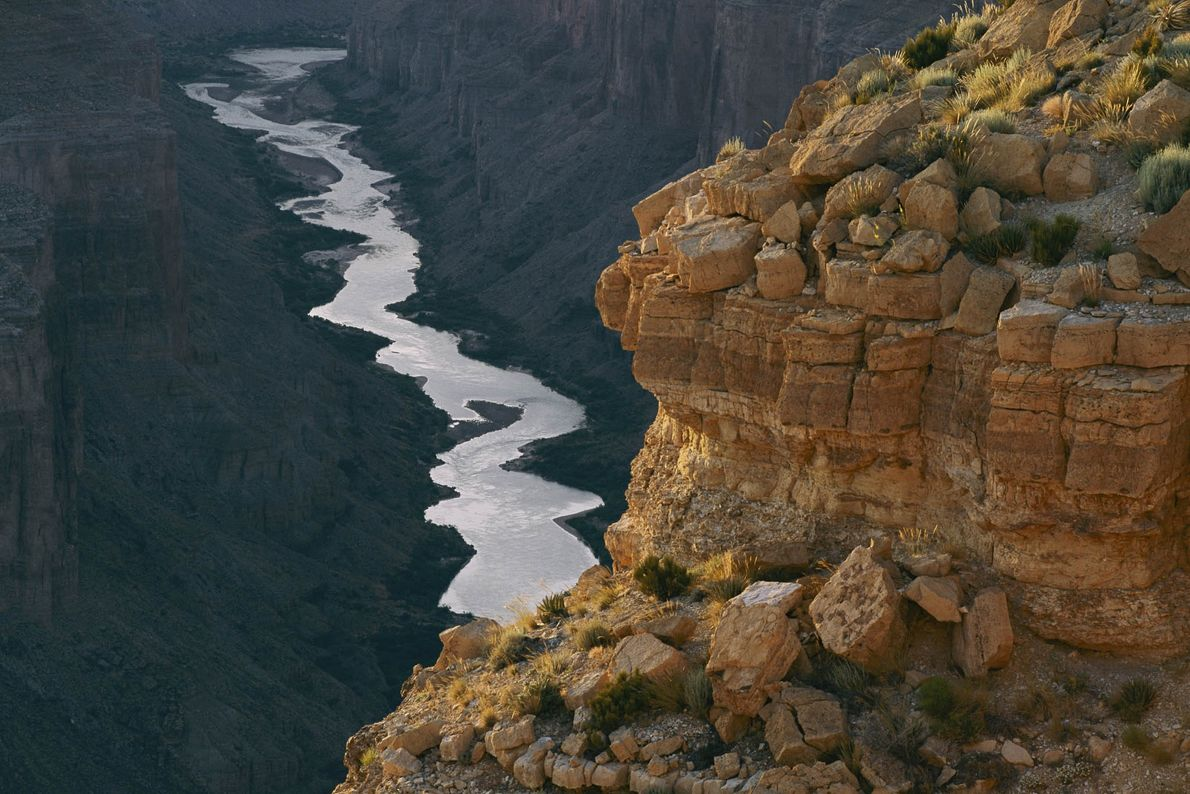 The Colorado River cuts around Grand Canyon National Park.
