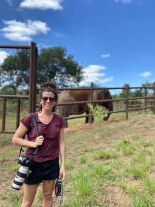 Com a elefanta Mara de fundo, a fotógrafa Sofía López Mañán retira a máscarae sorri pelo ...