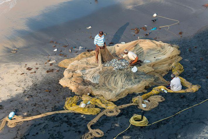 Pescadores inspecionam suas redes em Varkala, Kerala.