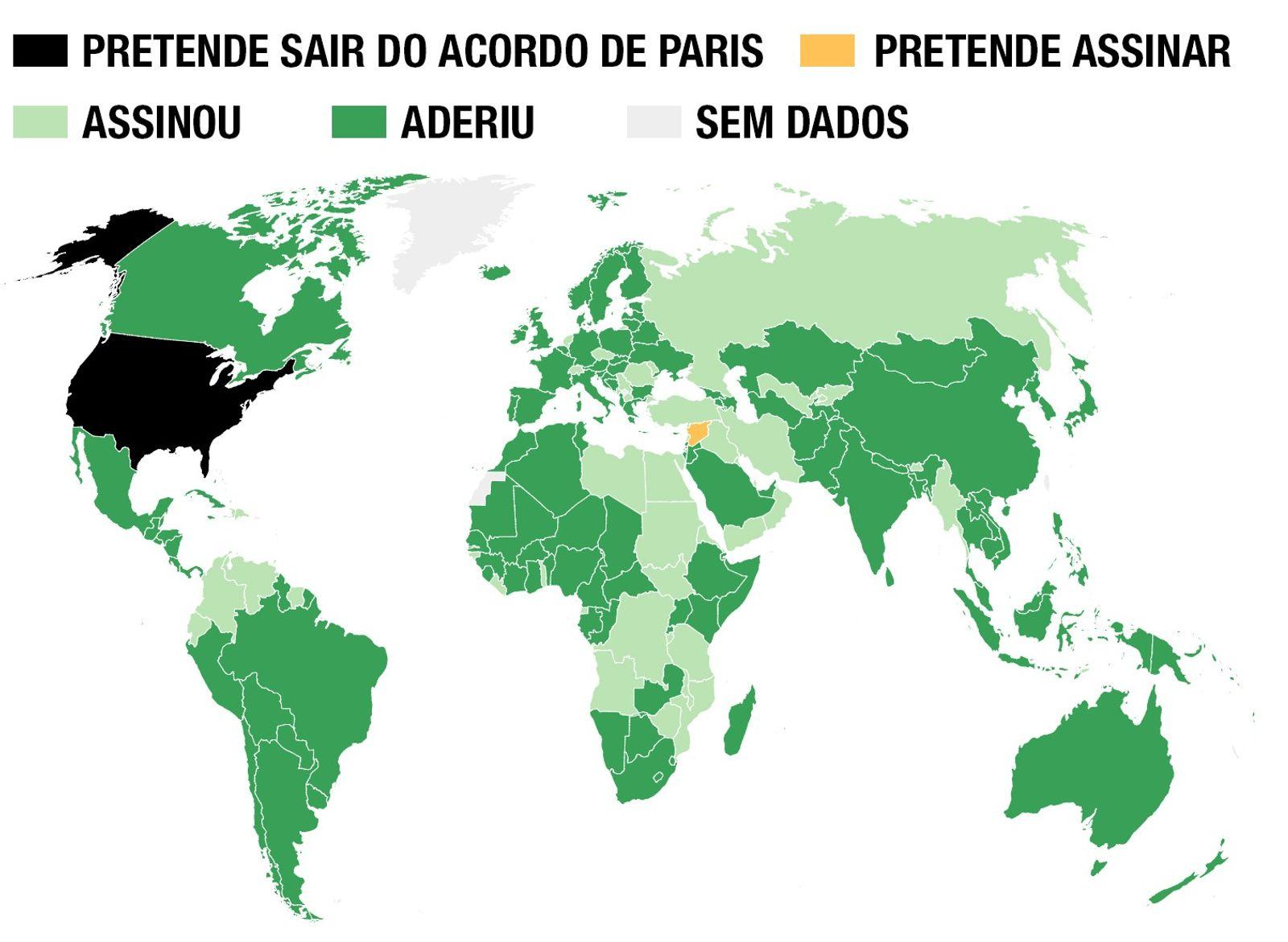 Depois que os países assinam o Acordo de Paris, eles aderem formalmente ao pacto, ratificando, aceitando ...
