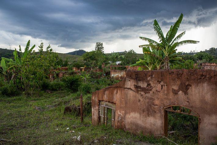 Ruínas do povoado de Bento Rodrigues, no município de Mariana (MG), engolido pela lama da barragem ...