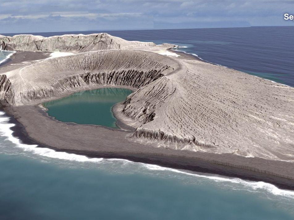 Animação da Nasa mostra ilha sendo criada por erupção vulcânica