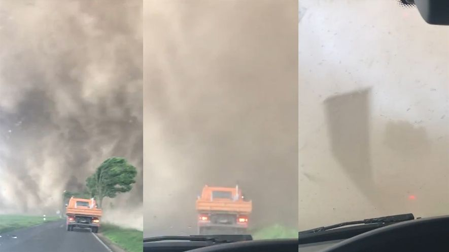 Veja o que acontece quando se dirige para dentro de um tornado