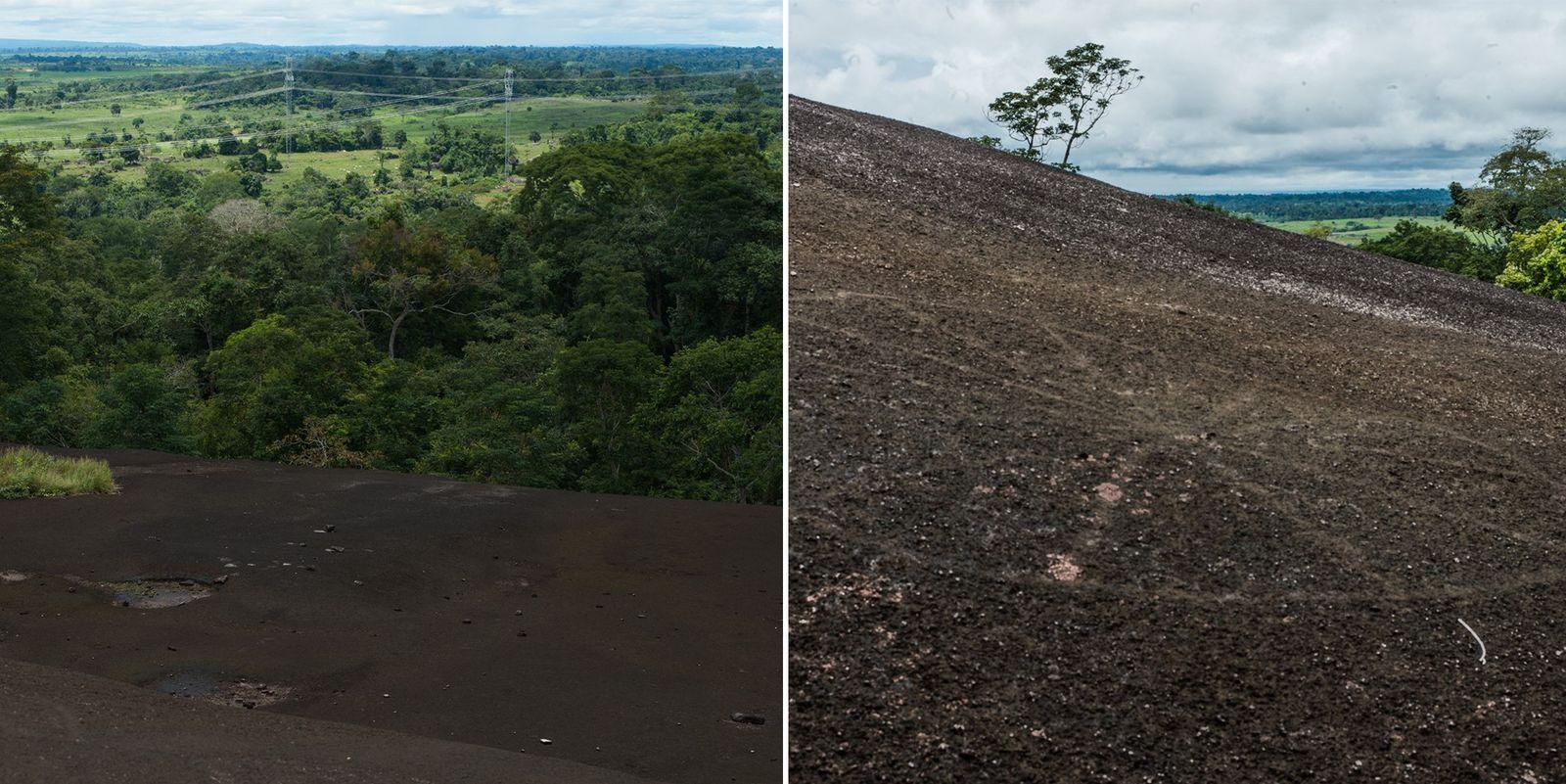 Linhas de transmissão (à esquerda) são visíveis do alto da rocha granítica do sítio arqueológico da ...