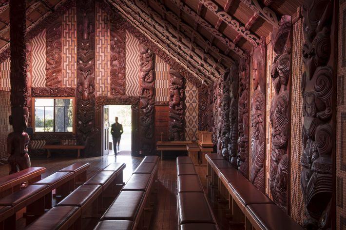 casa de assembleia Te Whare Rūnanga fica no Waitangi Treaty Grounds
