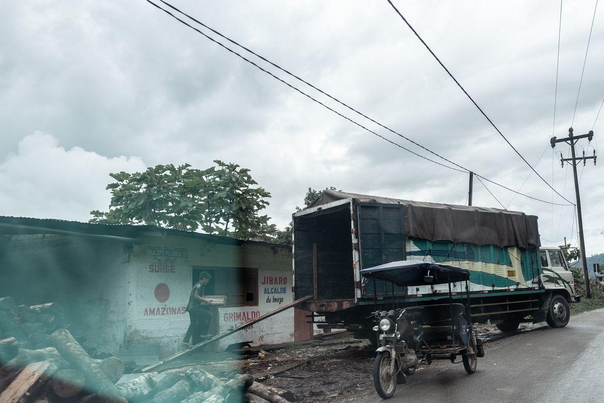 Pequenas madeireiras preparam a madeira para ser transportada por caminhões.
