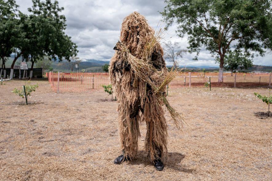 Soldado peruano disfarçado para missões de combate na selva. Alguns dos soldados das forças armadas são ...