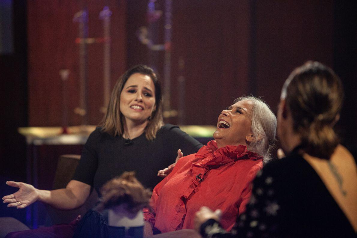 Boas gargalhadas com as cantoras Fafá de Belém e Mariana.