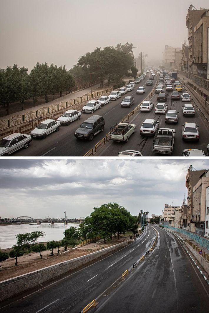 Imagens de antes e depois de uma via principal na cidade de Ahvaz, no Irã, mostram ...