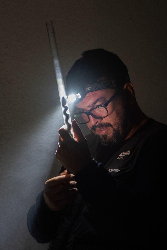 O pesquisador Fausto Barbo, do Instituto Butantan, examina uma jararaca capturada em Alcatrazes. Ele já descobriu ...