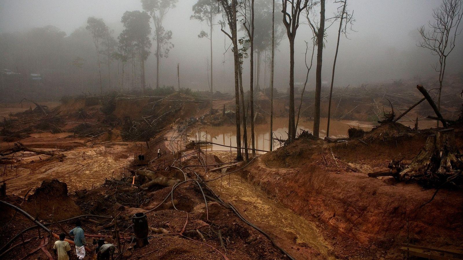 O Garimpo do Juma, uma mina de ouro no rio Juma, em Apuí,se espalha por mais ...