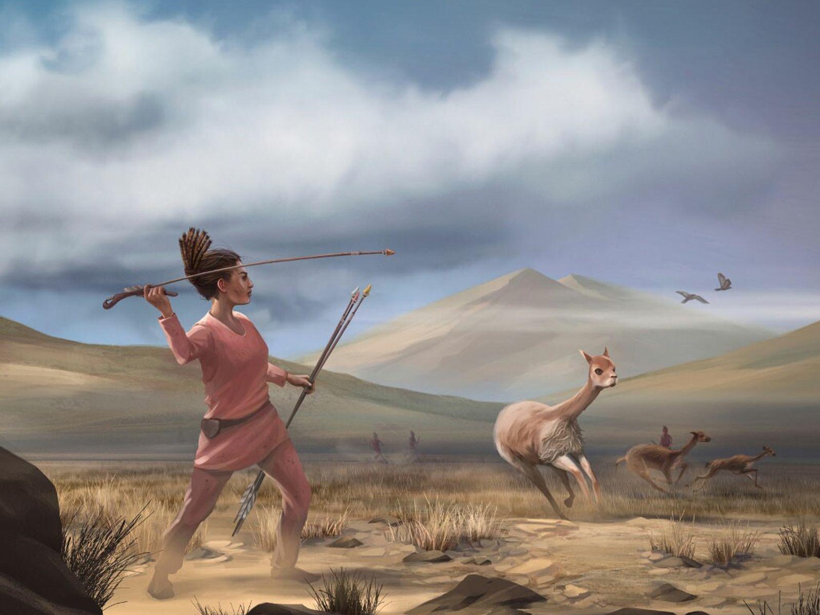 Representação de como a caça pode ter sido nas Cordilheiras dos Andes na América do Sul ...
