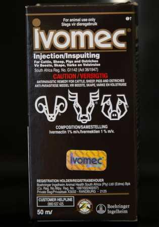 Uma caixa de ivermectina de uso veterinário. A África do Sul autorizou o uso limitado de ...