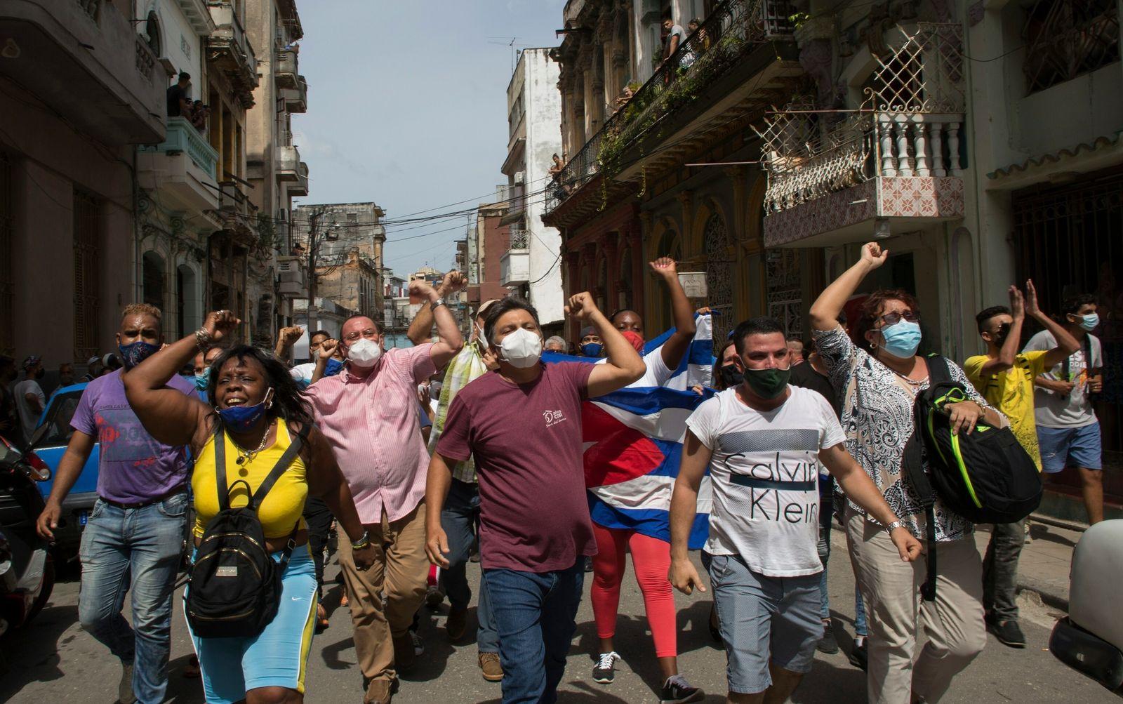Cuba protest march