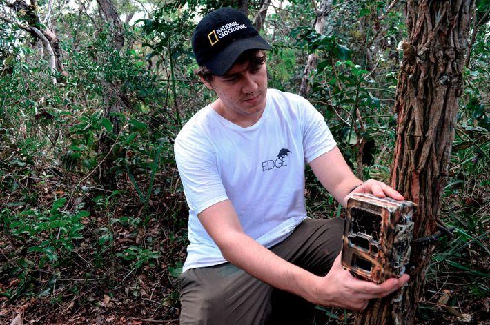 Vinicius Alberici monta uma armadilha fotográfica para registrar os animais. O projeto Bandeiras e Rodoviastem como ...