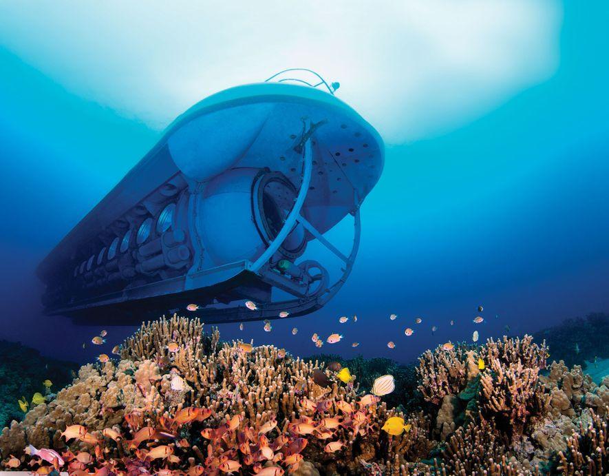 O Submarino Atlantis, em Kona, no Havaí, foi desenvolvido para uma visão subaquática aprimorada, além de ...