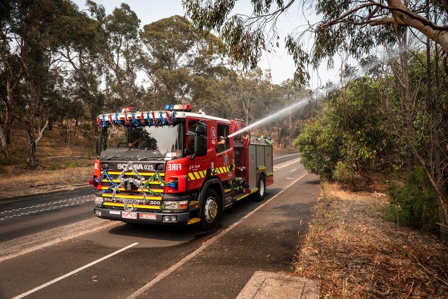 Bombeiros da Brigada de Incêndio Metropolitana de Melbourne lançam jatos d'água nos morcegos que se aglomeram ...