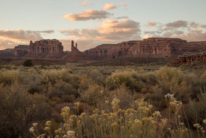 Formações rochosas no Vale dos Deuses no Monumento Nacional Bears Ears.