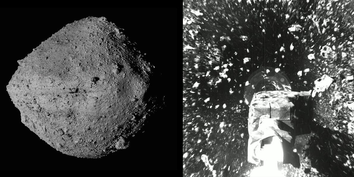 Em uma ambiciosa perseguição galáctica, a sonda espacial OSIRIS-REx da Nasa alcançou e tocou o asteroide Bennu ...