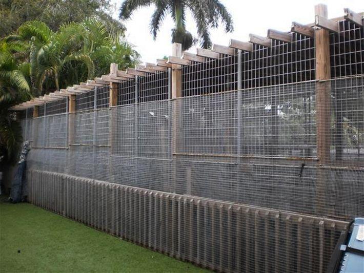 O criador de animais Michael Poggi mantém seu leopardo-negro nessa jaula no quintal de sua casa.