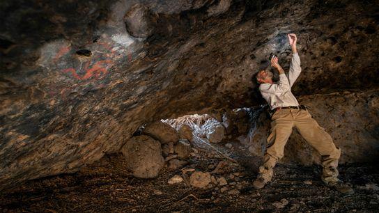 Jon Picciuolo, membro da equipe de pesquisa, documenta que foram encontrados maços de plantas mastigadas inseridos ...