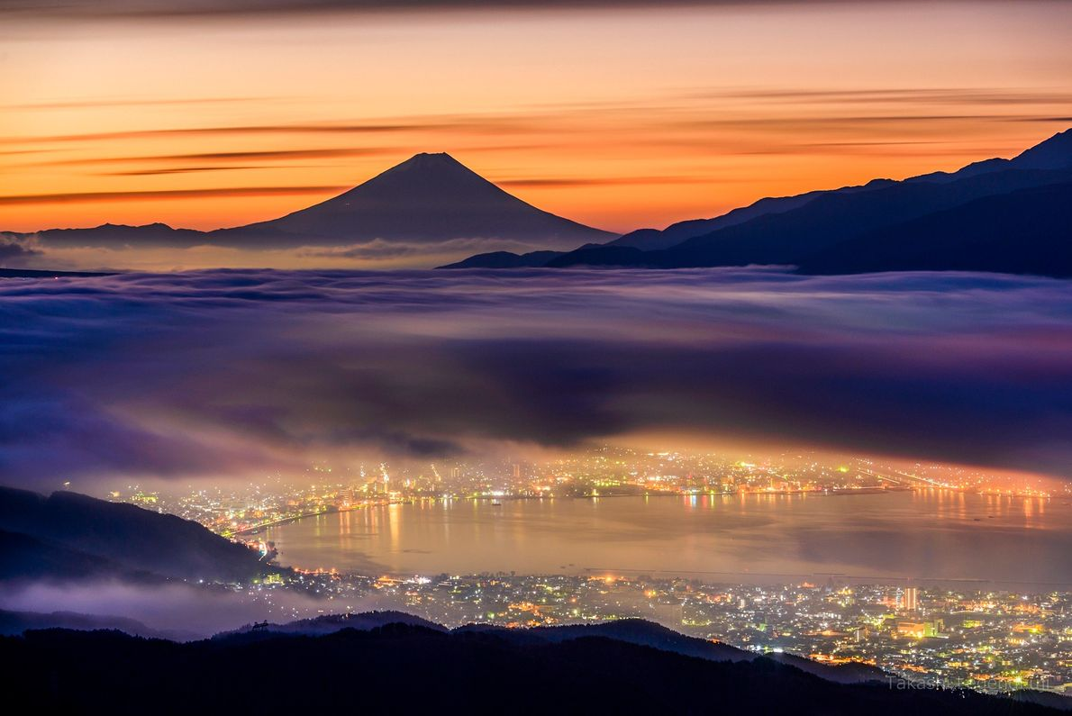 A cerca de 96 quilômetros do Monte Fuji, as Terras Altas de Takabochi oferecem uma vista ...