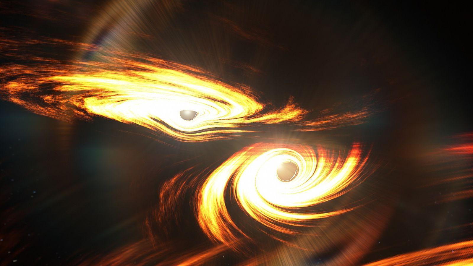 Ilustração simula a colisão entre dois buracos negros. Choque que ocorreu há mais de sete bilhões ...