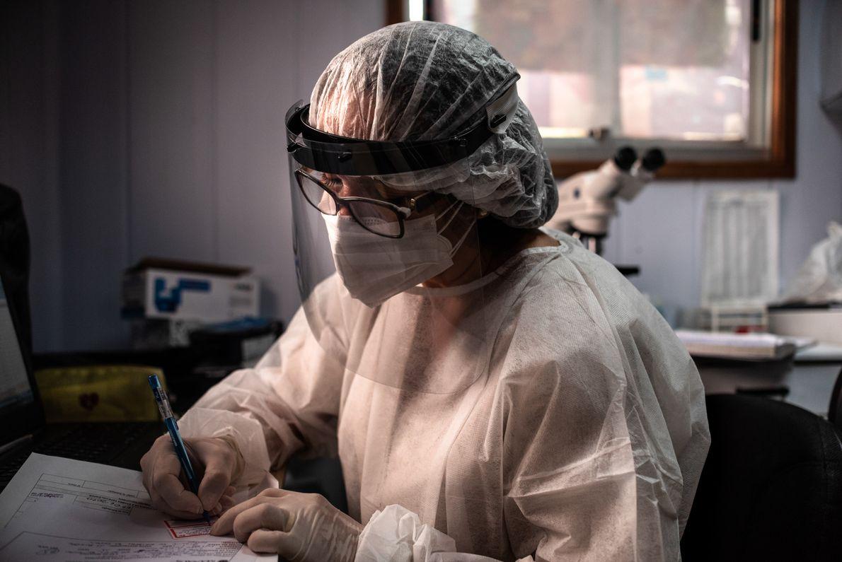 A bioquímica e técnica de laboratório Antônia Josefa Ozório é responsável pelo controle dos exames, como ...