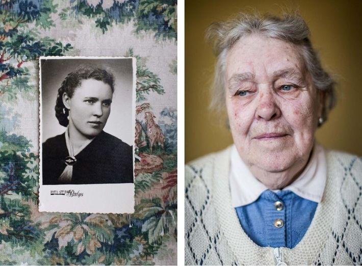 Elfriede Müller, nascida em 1934, tornou-se refugiada quando tinha 11 anos. Nesta foto, Elfriede está na ...
