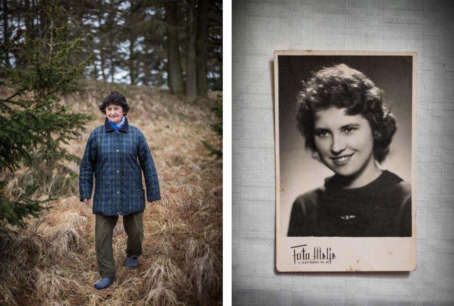 Erna Schneider, nascida em 1936, escapou de um trem sem janelas para transporte de gado, que ...