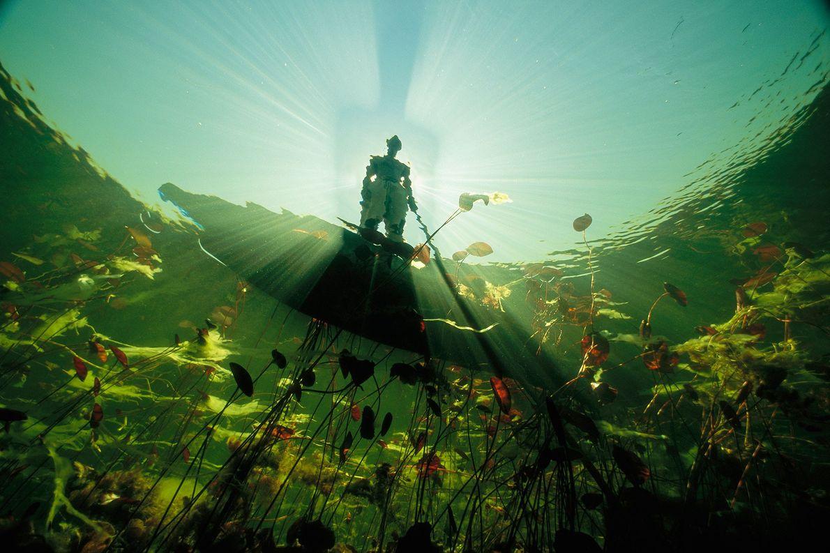 Um pescador Bayei em uma mokoro, em silhueta no sol de meio-dia, projeta uma longa sombra ...