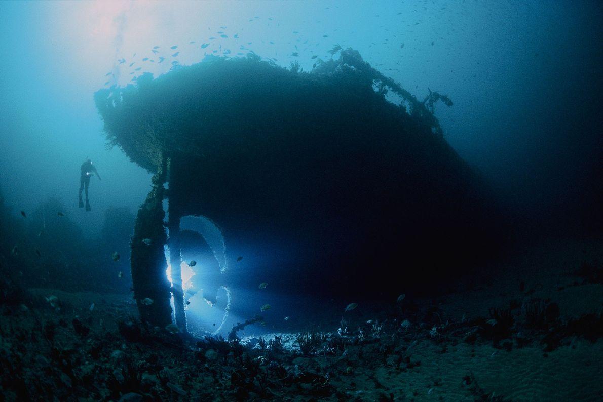 O SS Nord, um petroleiro de 82 metros afundado em 1915. O navio naufragado fica na ...