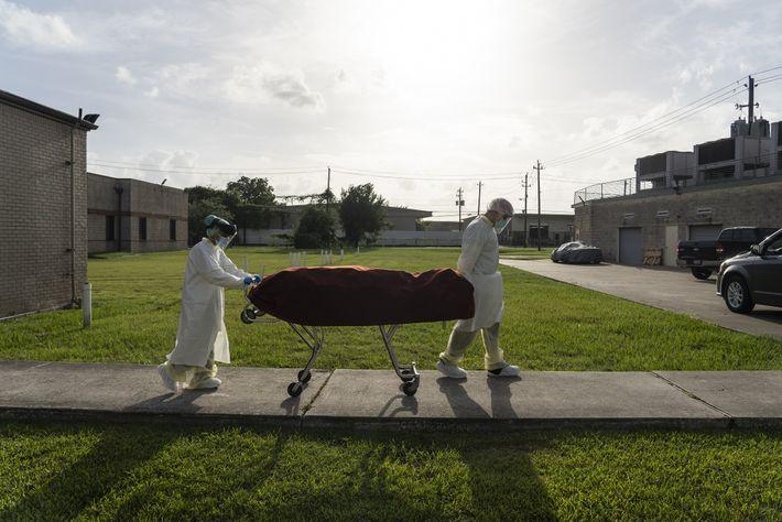 Uma equipe médica utilizando EPI completo leva um paciente morto de maca para um veículo fora ...