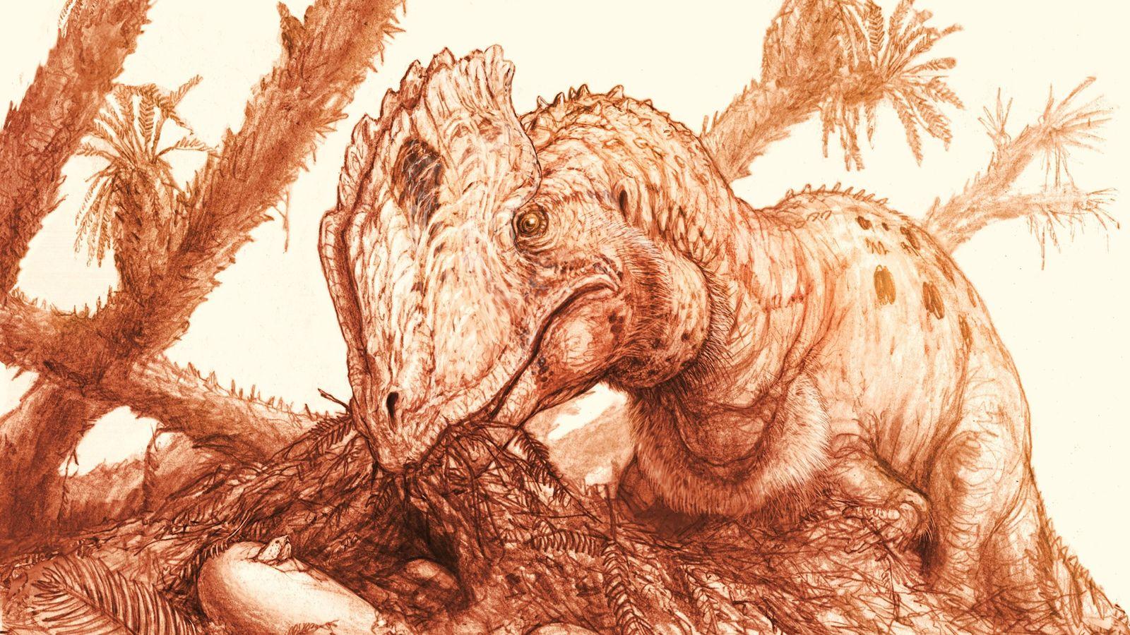 Uma reconstrução mostra umDilophosaurus wetherilliadulto cuidando de um ninho com ovos.