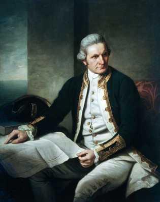 O capitão James Cook, explorador da Marinha Real Britânica, procurou a Antártida por três anos, mas ...