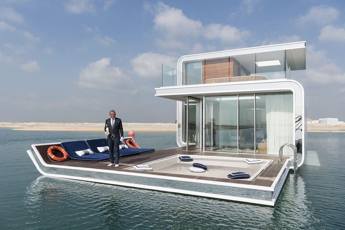 Um protótipo do Floating Seahorse, uma vivenda submersa de luxo, ao lado do World, um arquipélago ...