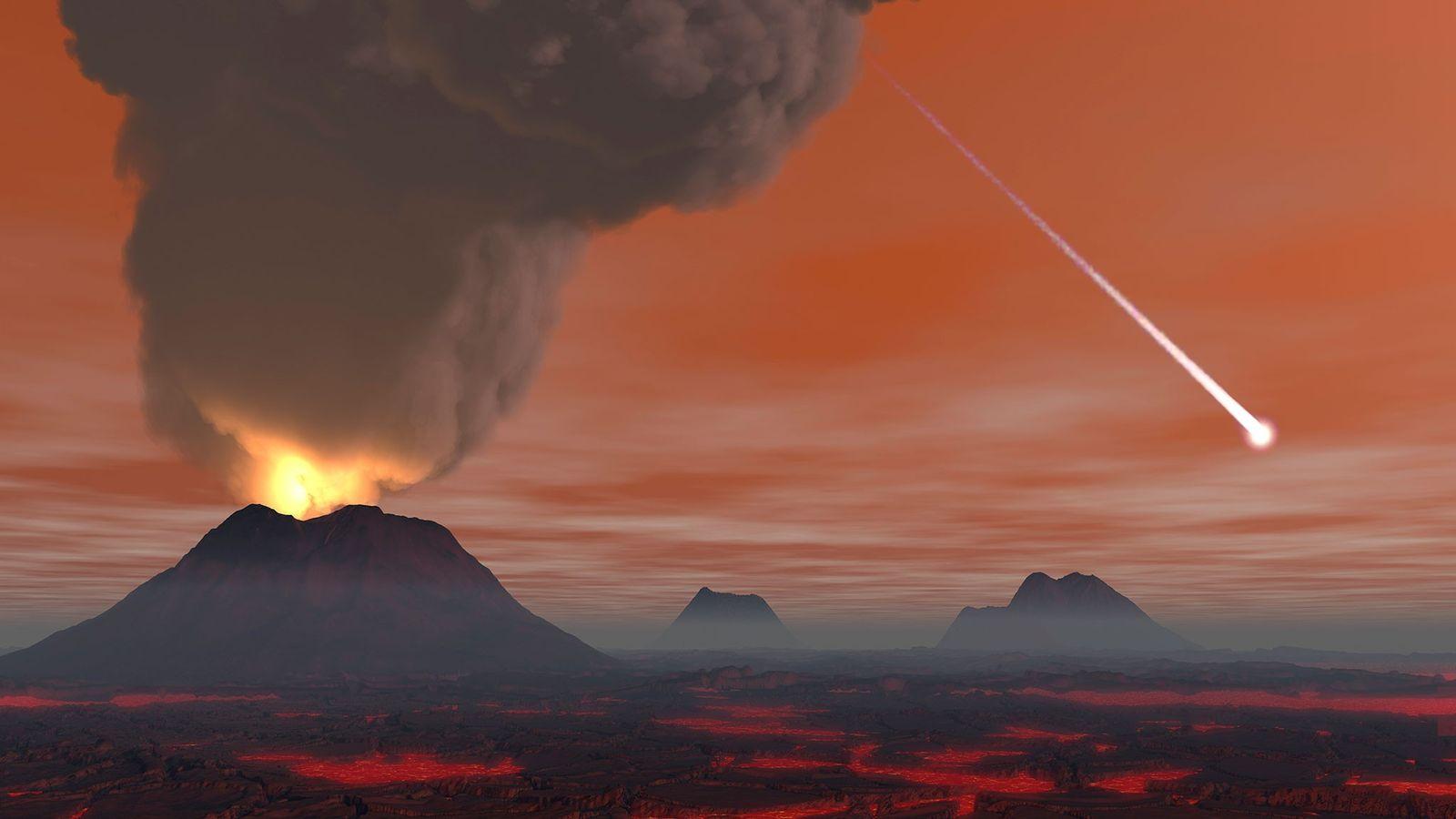 Cientistas e artistas muitas vezes imaginam os primeiros anos da Terra como um inferno, dominado por ...