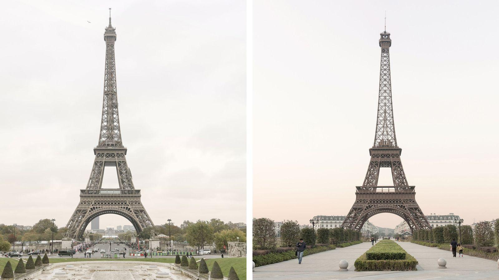 A Torre Eiffel (à esquerda) é um dos locais mais emblemáticos de Paris. A segunda maior ...