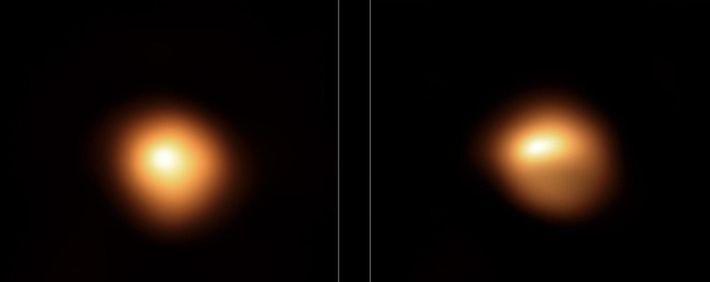Esta imagem comparativa mostra a estrela Betelgeuse antes e depois de seu escurecimento inédito. As observações, ...