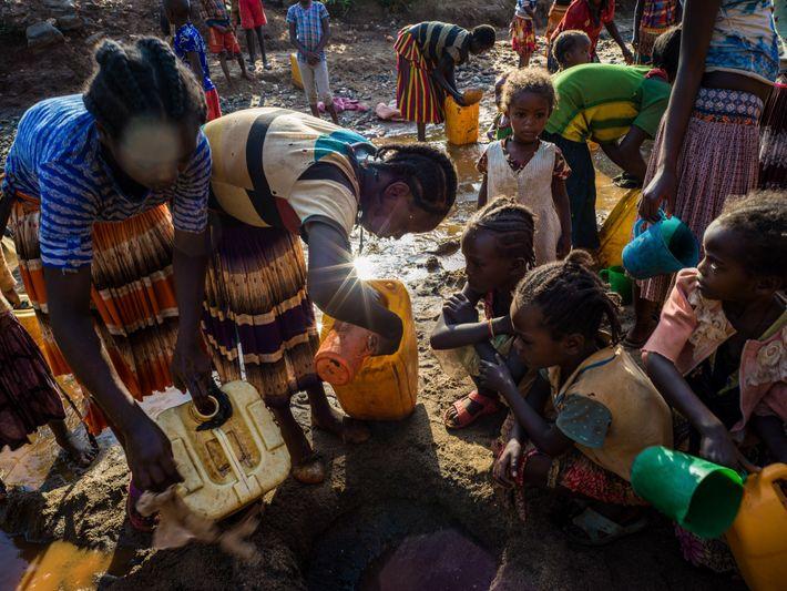 Em Konso, Etiópia, pessoas cavam pequenos buracos na areia perto de riachos para poder achar uma ...